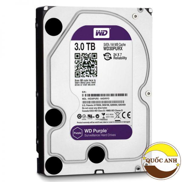 Ổ Cứng Western Digital Purple 3tb 64mb Cache (wd30purz) (màu Tím)